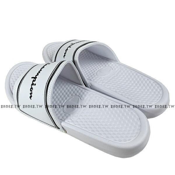 Shoestw【923250200】CHAMPION 拖鞋 運動拖鞋 白黑方框 男女尺寸都有 2