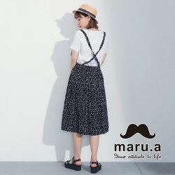【maru.a】滿版圓點吊帶兩穿中長裙(黑色)7316213