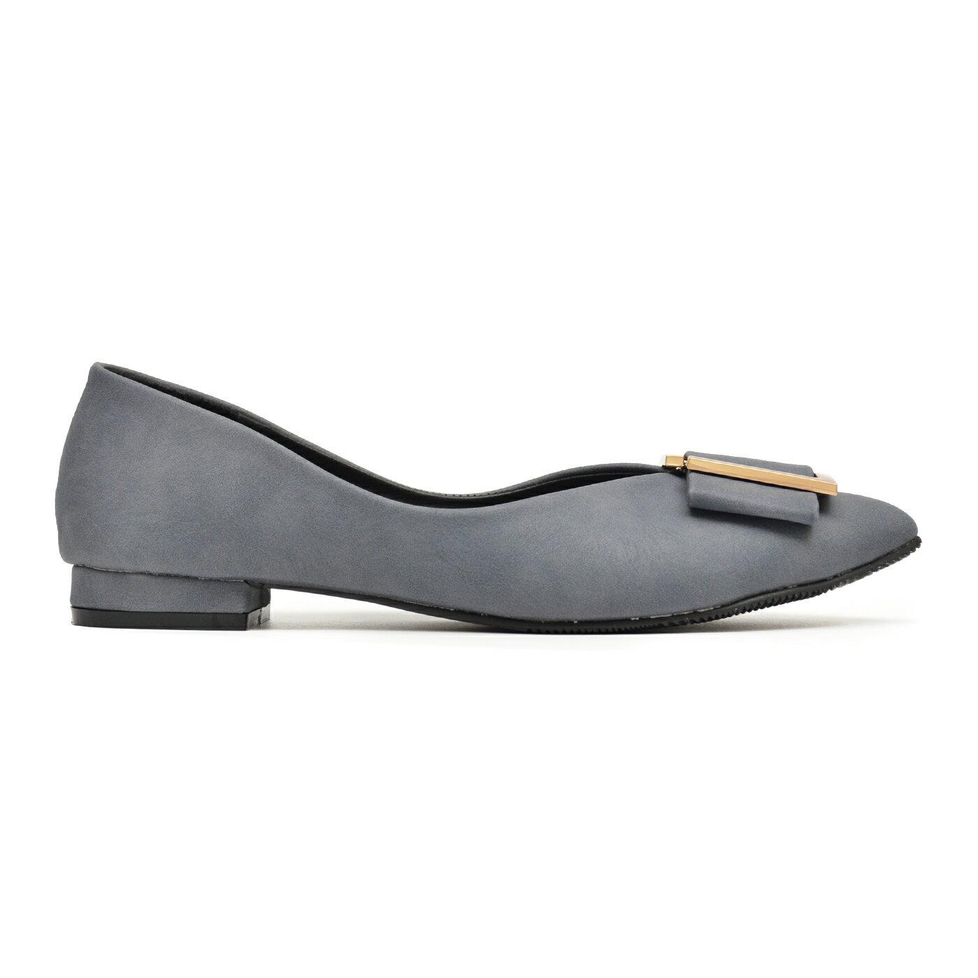 低跟鞋 大方蝶結釦尖頭鞋-灰