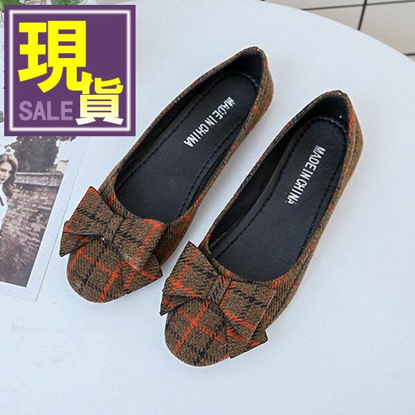 ZALULU愛鞋館 7CE178  條紋格格~OL平底圓頭娃娃包鞋~偏小~黑  紅  米~