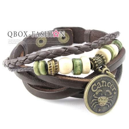 《 QBOX 》FASHION 飾品【W10024169】精緻個性復古巨蟹星座合金皮革手鍊/手環
