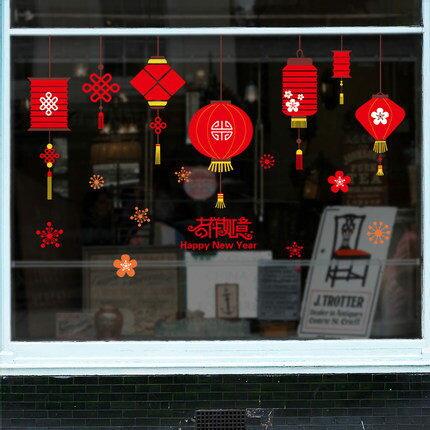 新年飾品居家靜電貼玻璃貼窗貼34飯店商店櫥窗玻璃牆貼(限宅配無法萊爾富超取)