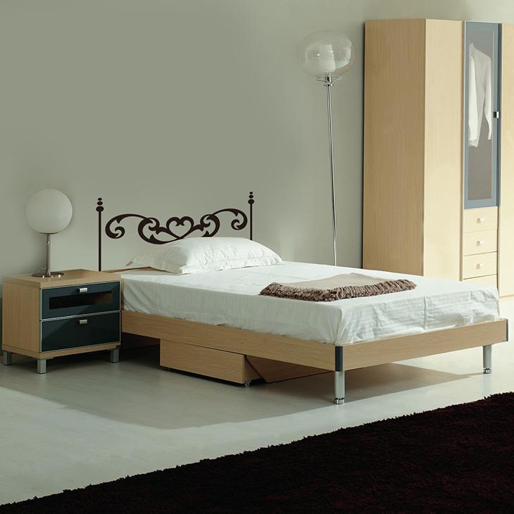 Attlee設計師-創意無痕壁貼.床頭板/床架 壁貼/單人床HDWS-02