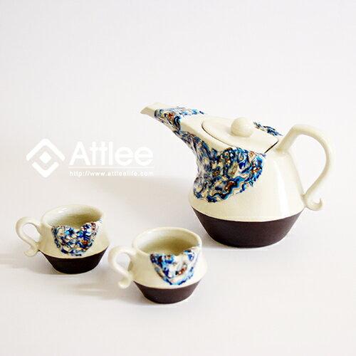 Attlee錦緞布長嘴造型茶壺/花茶組/創意飲品/下午茶/陶瓷茶具組.一壺兩杯