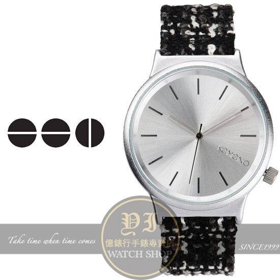 KOMONO比利時設計品牌 WIZARD TWEED小香毛呢復古腕錶/37.5m KOM-W1363公司貨/禮物/情人節/設計師
