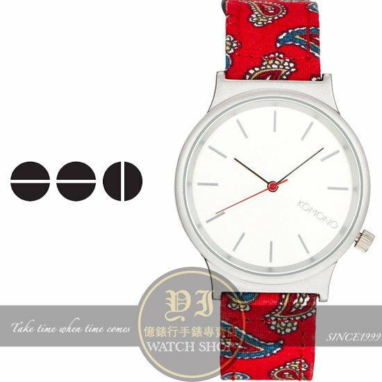 KOMONO比利時品牌 WIZARD P RED PAISLEY變形蟲塗鴉腕錶/37.5m KOM-W1823公司貨/設計/手錶/禮物