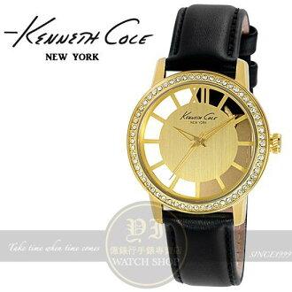 Kenneth Cole國際品牌女人品味鏤空晶鑽時尚皮帶腕錶-金/36mm IKC2891公司貨/禮物/情人節