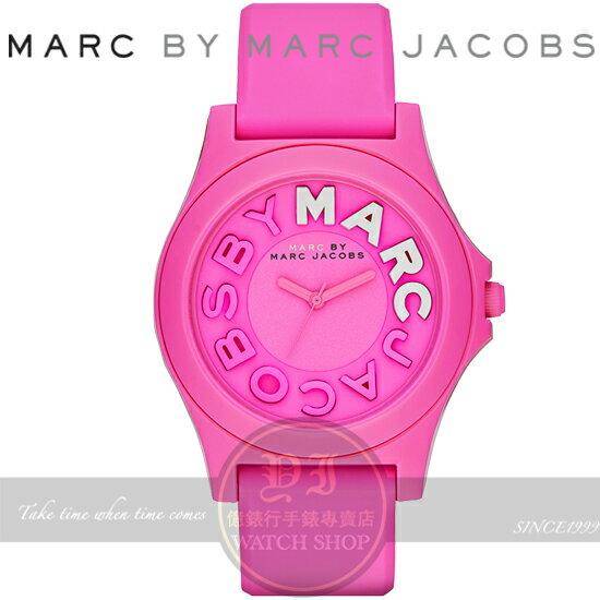 MARC BY MARC JACOBS國際精品可愛乳牛矽膠腕錶-桃紅/42mm MBM4023公司貨/禮物