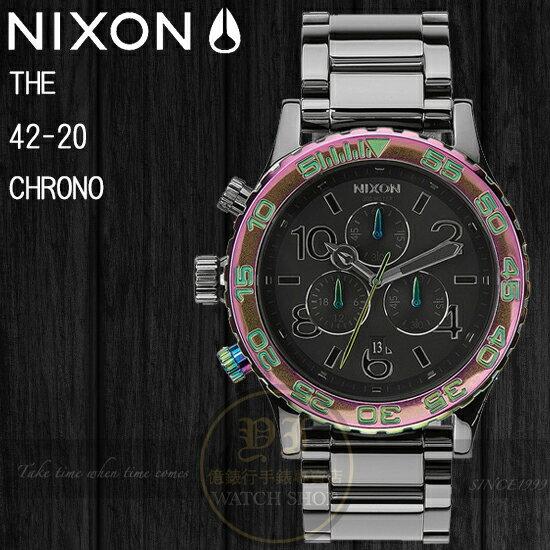NIXON 實體店The 42-20 CHRONO炫紫時計潛水腕錶Gunmetal / Multi A037-1698公司貨/禮物/聖誕節