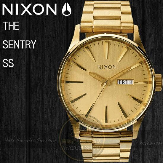 NIXON 實體店The Sentry SS 街頭型男鋼帶腕錶/42mm All Gold A356-502公司貨/禮物/極限運動/名人配戴