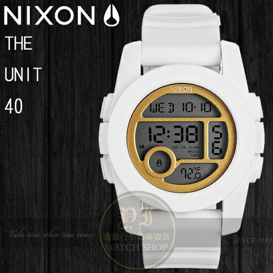 NIXON 實體店The Unit 40潮流玩味- All White / Gold A490-1035公司貨/溫度/極限運動