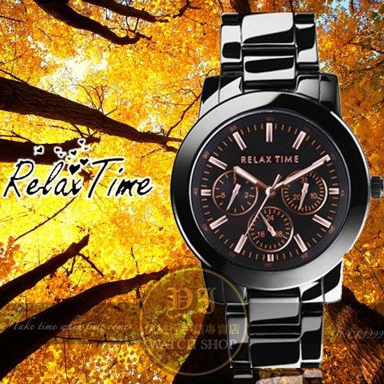 Relax Time關詩敏代言經典三眼錶款-玫瑰金/黑/38mm R0800-16-10公司貨/MIT/原創設計