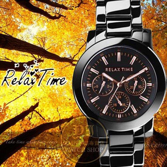 Relax Time關詩敏代言經典三眼錶款-玫瑰金/黑/42mm R0800-16-10X公司貨/MIT/原創設計