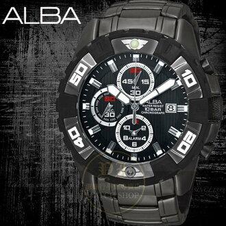 ALBA SignA強悍賽車手計時運動腕錶-IP黑/45mm AF3E35X/YM62-X219K公司貨