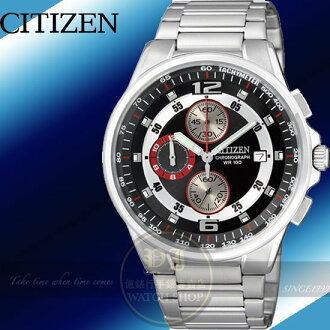 CITIZEN日本星辰 OXY競速三環計時腕錶-黑/40mm 公司貨AN3380-53L/禮物/情人節