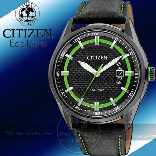 【億錶行】CITIZEN Eco-Drive 躍動自信光能限量真皮腕錶-綠/41mm AW1184-05E公司貨/星辰/禮物