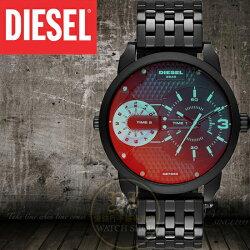 Diesel國際品牌Mini Daddy雙時區航行者腕錶-炫彩/46mm DZ7340公司貨/禮物/另類設計