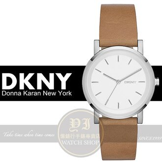 DKNY國際精品簡約時尚真皮腕錶-銀x咖啡/34mm NY2339公司貨/禮物