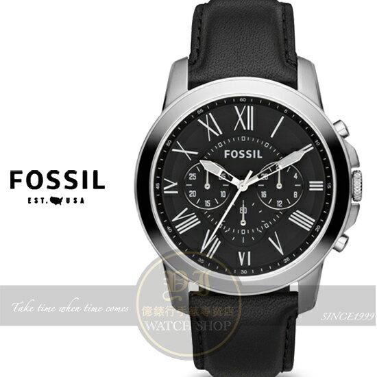 FOSSIL純粹男人魅力真皮腕錶-黑色/44mm FS4812公司貨/生日禮物/聖誕節/紳士手錶