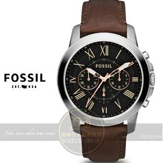 FOSSIL純粹男人魅力真皮腕錶-黑色X咖啡色錶帶/44mm FS4813 原廠公司貨 現貨+排單