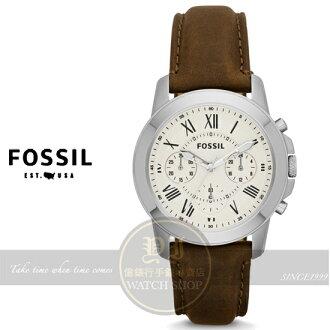 FOSSIL美國品牌Grant 中性菁英都會皮帶手錶-卡其x咖啡/38mm FS4839公司貨/生日禮