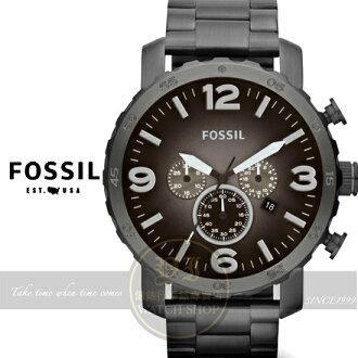 FOSSIL美國品牌創世紀戰神三眼計時腕錶-漸層IP槍灰//50mm JR1437公司貨/生日禮物/聖誕節