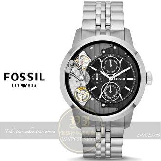 FOSSIL美國品牌Machine Twist [石英+機械]雙機芯都會腕錶-黑/銀/44mm ME1135公司貨/型男必備/禮物