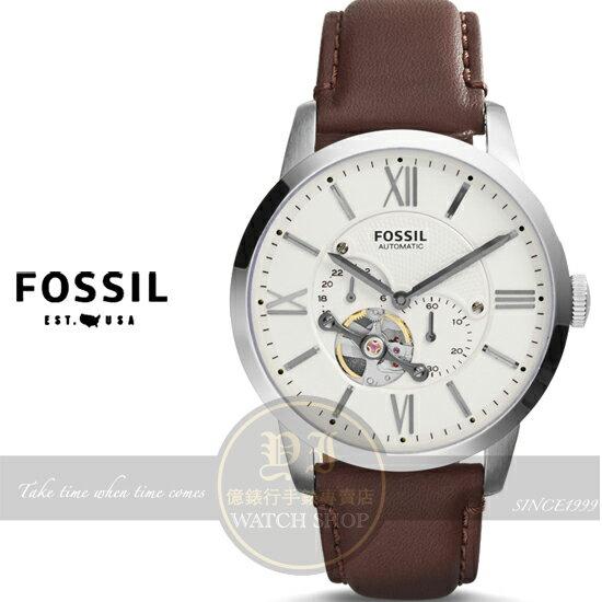 FOSSIL美國品牌Townsman Automatic系列復古紳士機械腕錶-米色/43mm ME3064原廠公司貨