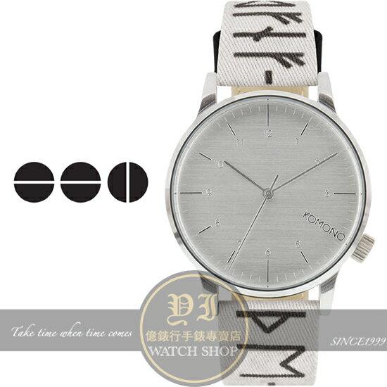 KOMONO比利時設計品牌Winston Rune北歐古文字印花腕錶/41mm KOM-W2159公司貨