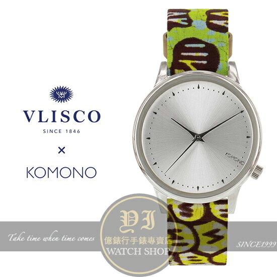 KOMONO x Vlisco Estelle非洲印花限量聯名款-銀/36mm KOM-W2850公司貨/原創設計