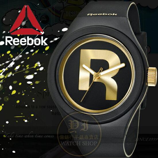 Reebok運動潮流品牌ICON-DROP RAD系列腕錶-黑金/44mm RC-IDR-G2-PBIB-B2公司貨