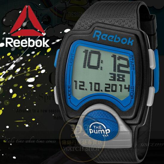 Reebok運動潮流品牌PUMP-PL系列空中飛人電子腕錶-藍黑42mmRC-PLI-G9-PBPB-BL公司貨