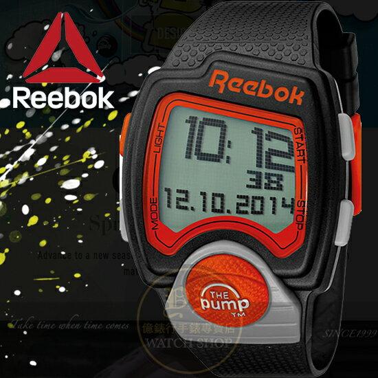 Reebok運動潮流品牌PUMP-PL系列空中飛人電子腕錶-紅黑/42mm RC-PLI-G9-PBPB-BO公司貨