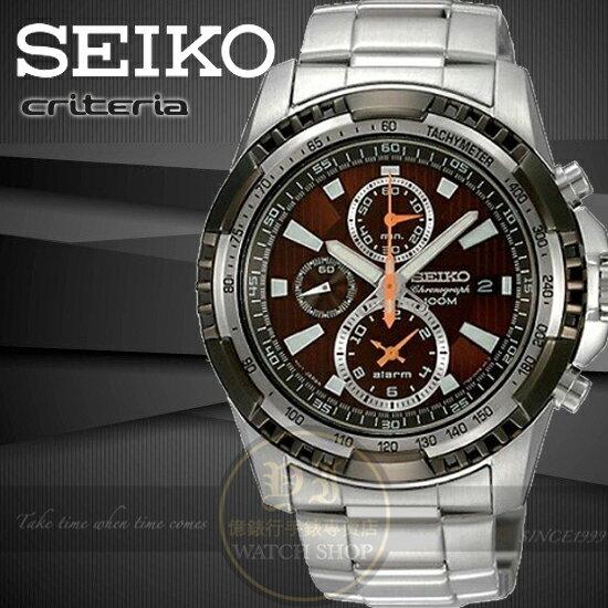 SEIKO日本精工CRITERIA極限賽車手計時鬧鈴腕錶-咖啡7T62-0Kk0O/SNAE03P1公司貨/王力宏