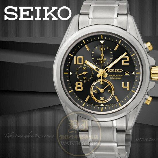 SEIKO日本精工【鈦】極速挑戰三眼計時腕錶-黑x金時標/40mm 7T92-0PN0K SNDE63P1公司貨王力宏/手錶