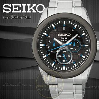 SEIKO日本精工criteria終極任務日曆腕錶-黑/藍指針/42mm V14J-0CD0B/SNE349P1公司貨/禮物