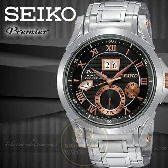 SEIKO日本精工王力宏代言PREMIER人體動能商務腕錶-黑x玫瑰金/42mm 7D48-0AL0K SNP062J1公司貨/禮物