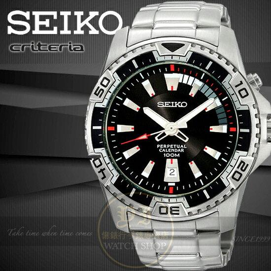 SEIKO日本精工金屬主義時尚萬年曆腕錶-黑 6A32-00S0D/SNQ109P1原廠公司貨