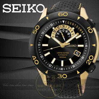 SEIKO日本精工Superior時尚限量機械真皮腕錶-IP黑/金/45mm 4R37-00V0K/SSA188J1公司貨/王力宏/情人節