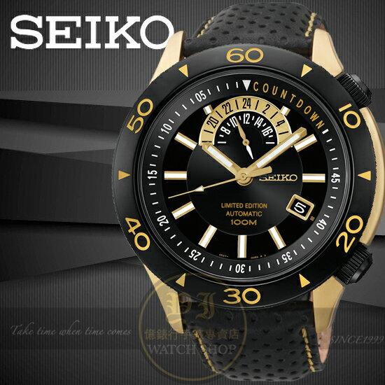 SEIKO日本精工Superior時尚限量機械真皮腕錶-IP黑金45mm4R37-00V0KSSA188J1公司貨王力宏情人節
