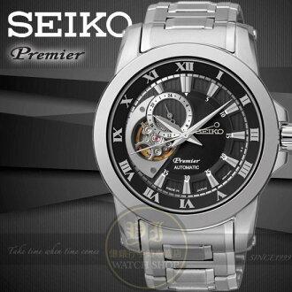SEIKO精工Premier心跳鏤空紳士機械腕錶-黑x銀/42mm 4R39-00L0D/SSA215J1公司貨