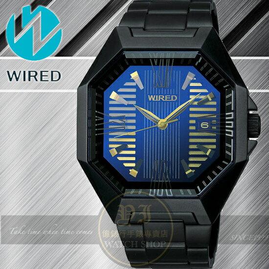 WIRED日本原創TOW FACE 系列電音搖滾時尚腕錶-藍/IP黑/38x40mm 7N42-X007T全球限定700支