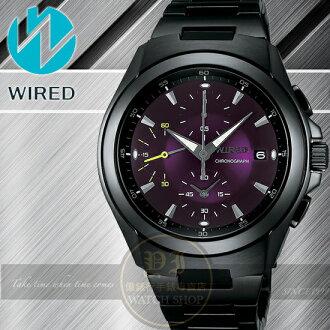 WIRED日本原創紫色戰神三眼計時腕錶-紫/IP黑/41mm 7T92-X221T公司貨/精工/SEIKO/柯有倫