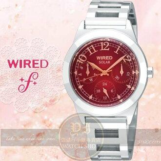 WIRED f愛戀美人太陽能時尚腕錶-紅/32mm V14J-X008R公司貨/SEIKO精工/專業手錶/禮物/聖誕節