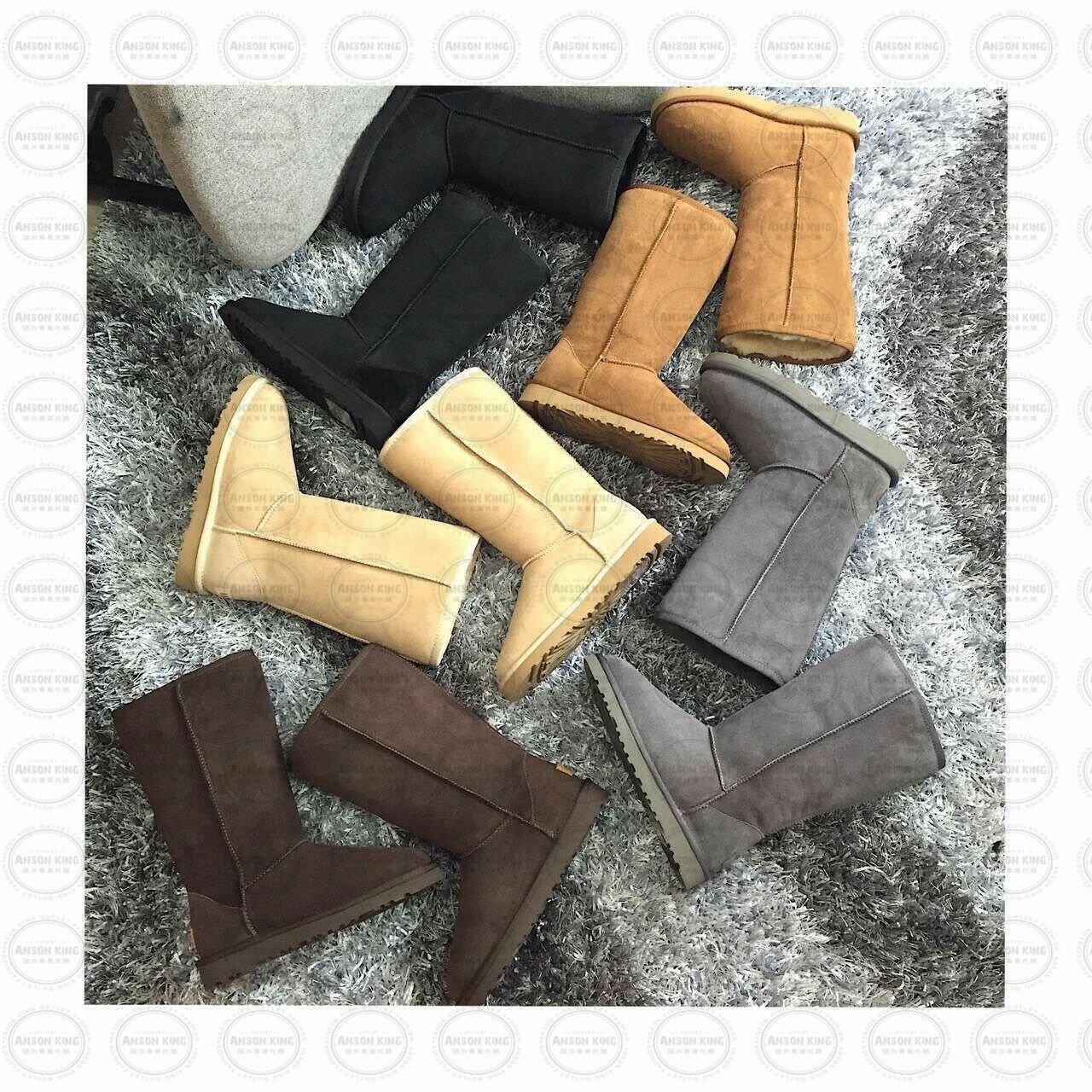 OUTLET正品代購 澳洲 UGG 經典女款羊皮毛一體雪靴 中長靴 保暖 真皮羊皮毛 雪靴 短靴 灰色 2
