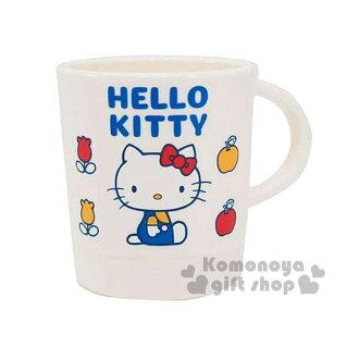 〔小禮堂〕Hello Kitty 日製單把手塑膠杯《白.坐姿.鬱金香.340ml》70年代系列