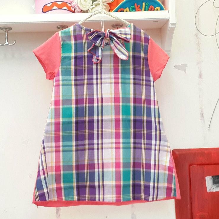 【班比納精品童裝】前素面後格紋長版T-西紅【BO140606011】