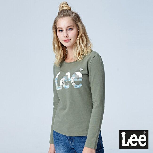 Lee Lee鑲珠印花LOGO圓領長袖T恤 軍綠色