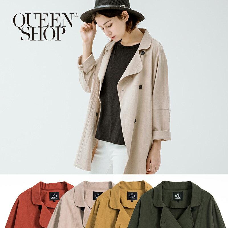 Queen Shop~02070878~雙排釦棉麻長版外套 四色售 S  M~ ~