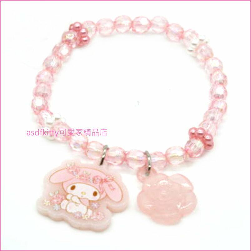 asdfkitty可愛家☆美樂蒂粉玫瑰兒童彈性塑膠手環/手鍊-日本正版商品